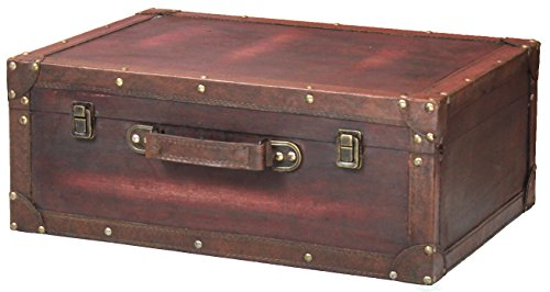 Vintage Style Brown Wooden Suitcase with Leather Trim (Vintage Leather Luggage)