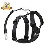 Pawaboo Dog Safety Vest Harness, Pet Dog Adjustable Car Safety Mesh Harness Travel Strap Vest with Car Seat Belt Lead Clip, Suitable for 11 lb-33 lb Dogs, BLACK