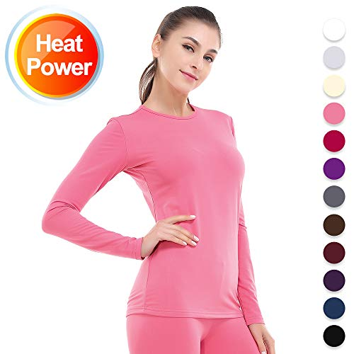 (Thermal Underwear for Women Long Johns Set Fleece Lined Ultra Soft Pink Large)