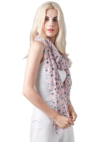 MissShorthair Women's Fashion Soft Light Cartoon Sheep Sheer Infinity Scarf (Lovely Pink)
