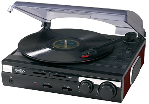 Jensen JTA-230SE 3-Speed Stereo Turntable with Built-in Speakers and Speed Adjustment, Mahagony