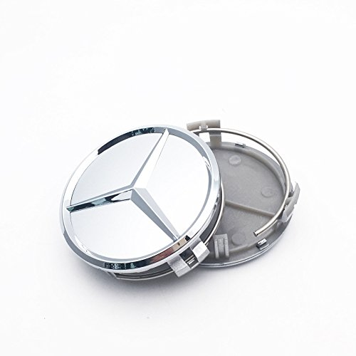 (NEW FOR MERCEDES-BENZ (SET OF 4) 75mm SILVER WHEEL RIM HUB CENTER CAPS WC4PC500)