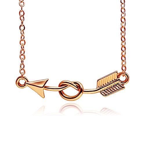 BEICHUANG Pretty Arrow with Love Heart Pendant Necklace Romantic Gift for Women Girls (rose gold) ()