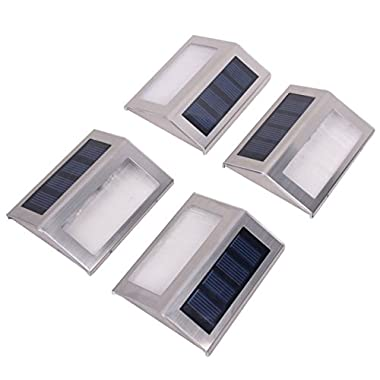 Solar Step Lights Outdoor Waterproof with 3 LED Bright White Solar Powered Lighting for Garden Deck Stairs or Patio from SweetHomeLight 4 pack