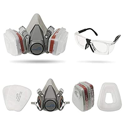 Yinshome Respirator Mask(Plus Safety Glasses)-Pesticide Respirator with Dual Filter Cartridges for Breathing Eye Protection Against Dust,Organic Vapors, Chemicals-Paint Respirator for DIY projects