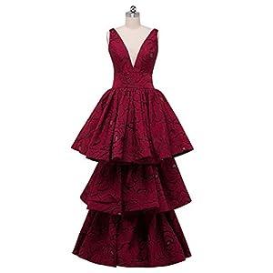 Beauty-Emily Wedding Dresses Women s Lace Burgundy Elegant Floral Fashion A line  Prom Party Dress a94011d2c