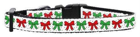Mirage Pet Products Christmas Bows Nylon Ribbon Collar, Small