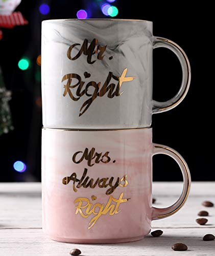 Luspan Mr. Right and Mrs. Always Right Coffee Mugs Set - Funny Valentine's Day Gifts - Gift for Bridal Shower Engagement Wedding and Married Couples - Ceramic Marble Cups 13oz