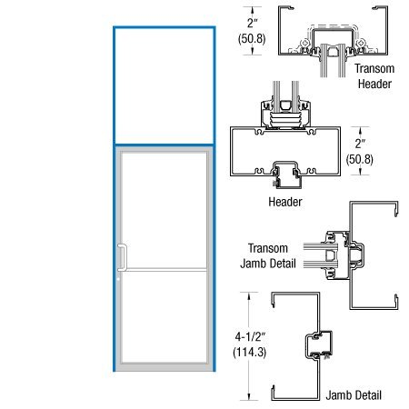 CRL-U.S. Aluminum Custom Size Clear Anodized Series 451 Open Back Butt Hinge Transom Single Door Frame