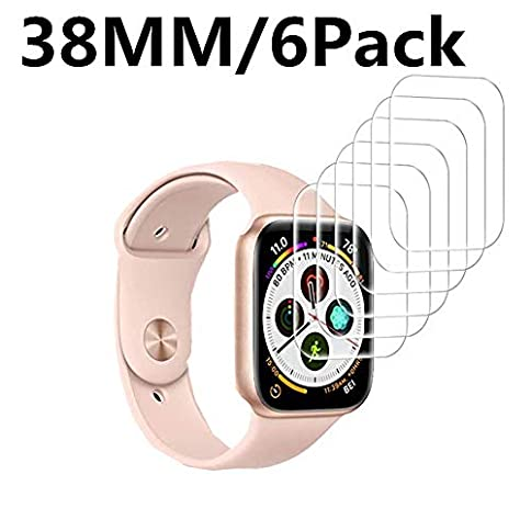 - 41Nex9U 2BfUL - [6 Pack] Apple Watch Screen Protector 38MM PET, hairbowsales HD Screen Protector Anti-Bubble Scratch-Resistant Guard Cover 3D Hydrogel Protective Soft Film Apple Watch Series 4 38mm PET