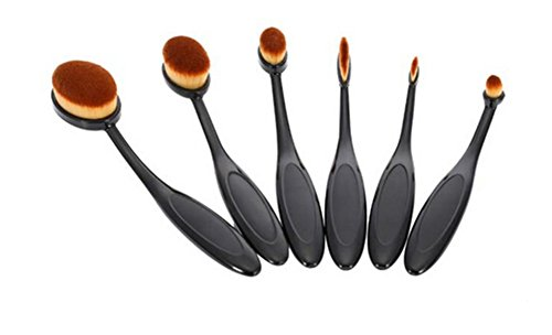 LALANG 6pcs Toothbrush Blending Brush Oval Foundation Powder Contour Makeup Brushes
