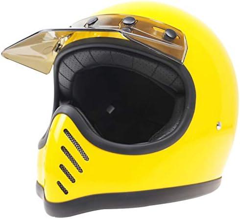 Sunzy FRP handgefertigter Vintage Motorradhelm f/ür Erwachsene DOT ECE-zertifizierter Retro-Integralhelm M, L, XL, XXL ,M