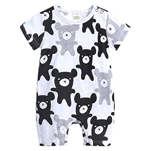 NUWFOR Toddler Kids Baby Boys Cartoon Print Romper Jumpsuit Outfit Clothes Summer (Black,12-18 Months)
