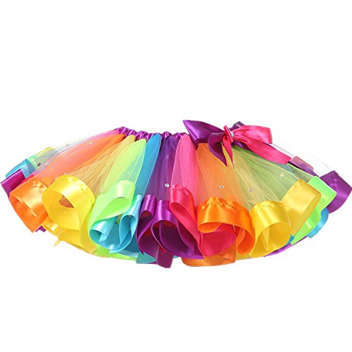 MOLFROA Baby Girls Colorful Layered Dance Outdoor Rainbow Tutu Skirt 2T/3T