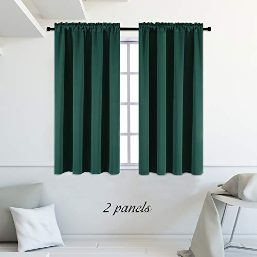 Green Window Curtain - DONREN Hunter Green Blackout Thermal Insulating Window Curtains-42 Wide Curtain Drapes with Rod Pocket for Bedroom (42