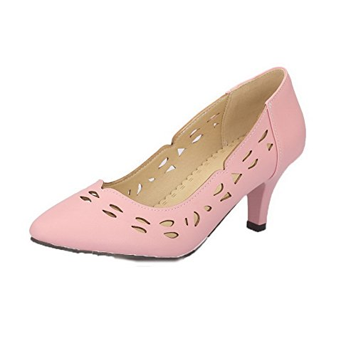 AllhqFashion Women's PU Solid Pointed Closed Toe Kitten-Heels Pumps-Shoes, Pink, 40