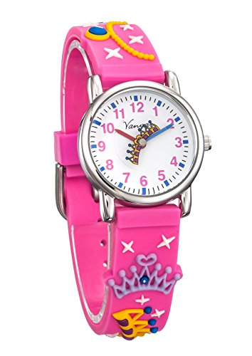 Crown Princess Belt (Vanyar Kids Princess Crown Time Teacher Quartz Wrist Watch Rubble Band Pink)