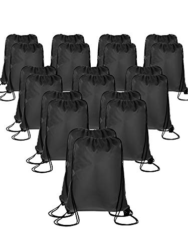 20 Pieces Drawstring Backpack Sport Bags Cinch Tote Bags for Traveling and Storage (Black 1, Size 1) ()