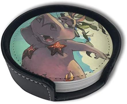 Bikini Sexy Hippo Summer Home Decor Mark Cup Mat Pu Leather Set Of 6 Dining Table Decorations Round Coasters Gift Ornament Beer Mats Car Coasters