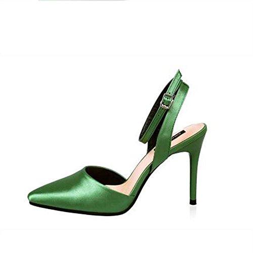 L@YC Frauen-lederner Stilett-Strappy beschuht Absatz-spitze Zehe-Kleid-Pumpe-Schwarzes / Rot / Rosa Green