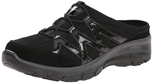 Skechers Womens Easy Going Repute Mule Slip-On Sneaker, Black