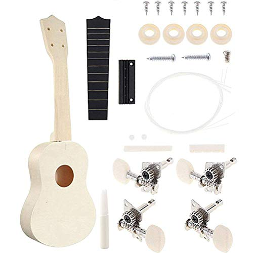 WarmShine 21Inch DIY Ukulele Kit Guitar Handwork Painting Children's Toy Diy Small Guitar Handmade Material Painting Graffiti Wooden Assembling Ukulele for - Handmade Graffiti