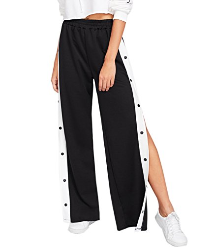 Mansy Womens Casual High Split Buttoned Long Wide Leg Lounge Sports Track Pants