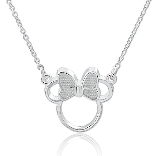 Disney Sterling Silver Minnie Mouse with Bow Silhouette Necklace