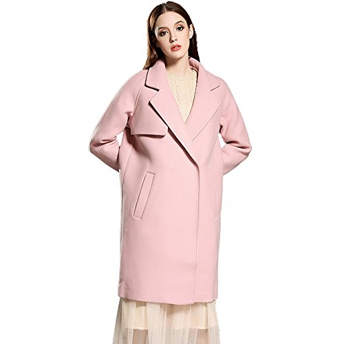 La Sra Chaqueta De Color Rosa De Lana Otoño Y El Invierno De La Moda Capa Delgada Sólido Multi-tamaño,Pink-m