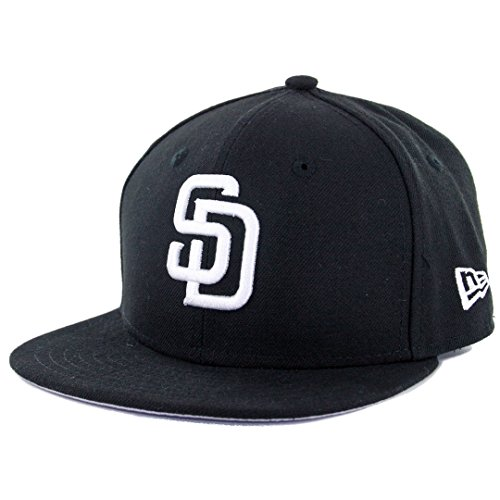 New Era 59Fifty Youth San Diego Padres Fitted Hat (Black/White) Kids MLB Cap
