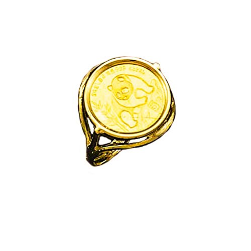 - 24 Kt Chinese Panda Bear Coin Set In 14 Kt Solid Yellow Gold Coin Ring (1548-Random Year Coin