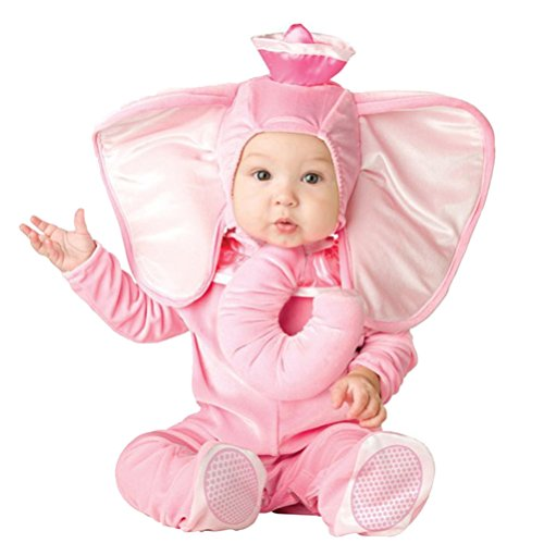 Baby Infant Costume, Deluxe Cute Toddler Halloween Animal Cosplay Photography Prop Outfit (Tag Size 90, Pink Elephant)
