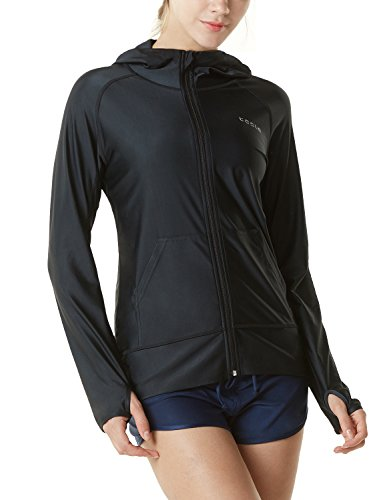 Tesla TM-FSZ02-BLK_Small Women's UPF 50+ Hoodie Zip Front Long Sleeve Top Rashguard Swimsuit FSZ02