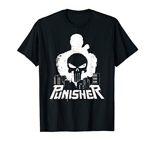 Marvel The Punisher Cityscape Silhouette Graphic T-Shirt