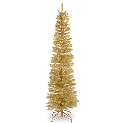 National Tree 6 Foot Champagne Gold Tinsel Tree with Metal Stand (TT33-702-60) (Gold Trees Christmas Artificial)