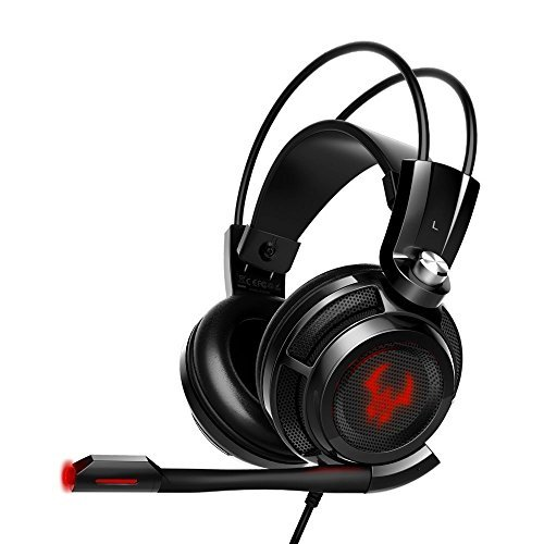 EasyAcc G1 Gaming Headset Virtual 7.1 Channel Surround Sound Noise Isolation Stereo Over-Ear USB Headphones with Microphone for PC/MAC(Black/Red)