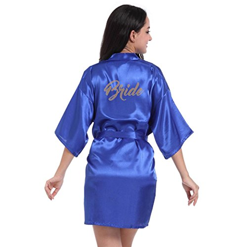 Price comparison product image Datework Women's Pure Half Sleeves Short Kimono Silk Robe Sleepwear For Bride Wedding Party (S, Blue)