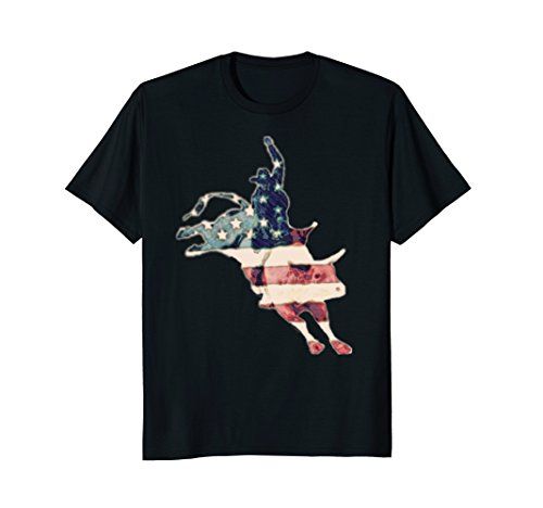 (Bull Riding Vintage American Pride T-Shirt Bull Rider Shirts)