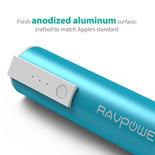 RAVPower Luster mini 3350mAh lightweight Charger External Battery Pack strength Bank iSmart technology for Smartphones and alot more Blue Batteries