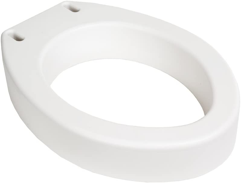Essential Medical  Elevated Toilet Seat with Arms Elongated 19.5 x 14 x 3.5