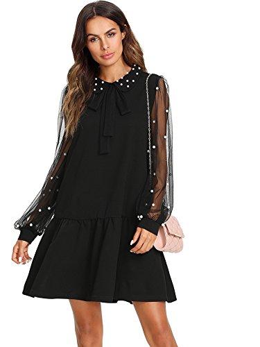 Verdusa Women's Pearl Beaded Tie Neck Mesh Bishop Sleeve Dress Black XL (Sheer Black Sleeves Dress)