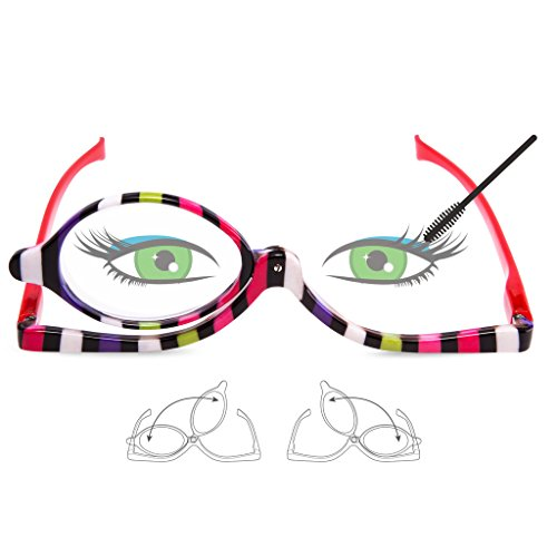 8da741e61636 EYEGUARD Readers 2 Pack Magnifying Makeup Glasses Eye Make Up Spectacles  Flip Down Lens Folding Cosmetic