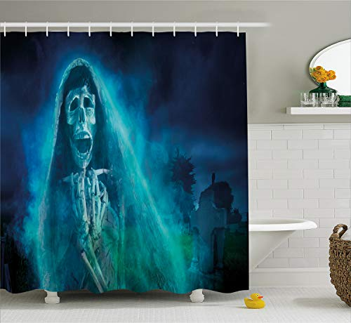 Ambesonne Skull Shower Curtain Decorations, Gothic Dark Background with Dead Ghost Skull Skeleton Mystic Haunted Horror Halloween Theme, Fabric Bathroom Shower Curtain Set, 75 Inches Long, Blue Green