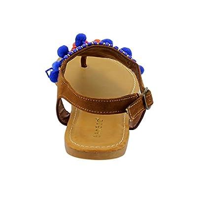 BAMBOO EF94 Women's Pompom Buckle Strap Slingback Flat Thong Sandals
