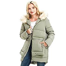 Ajoite women's fashion mid-length thick winter down jacket parkas with fur hood trims, Relaxed Fit coat