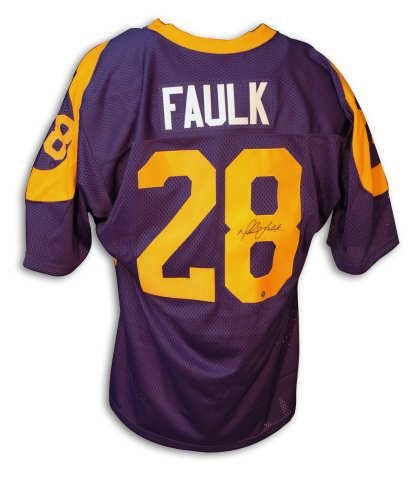 Louis Rams Throwback Blue Jersey - Autographed Marshall Faulk Throwback Blue Rams Jersey - 100% Authentic Autograph - Genuine NFL Signature - Perfect Sports Gift