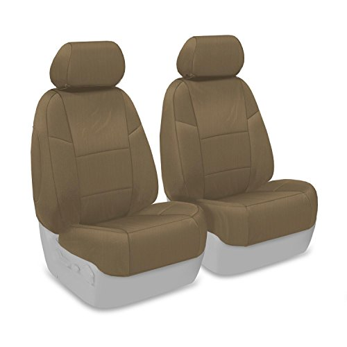 Coverking Custom Fit Front 50/50 Bucket Seat Cover for Select Subaru Legacy/Outback Models - Polycotton Drill (Cashmere)