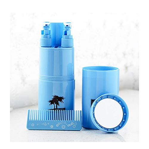 Travel Wash Cup Toothbrush Box Portable Storage Empty Bottle Travel Goods Travel Care Set (Color : Blue)