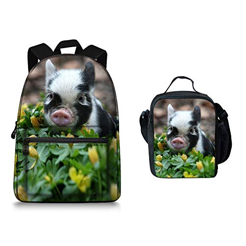 Cool Pig Canvas School Backpack 3D Animals Travel School Sport Bagpack with Lunchbox bag