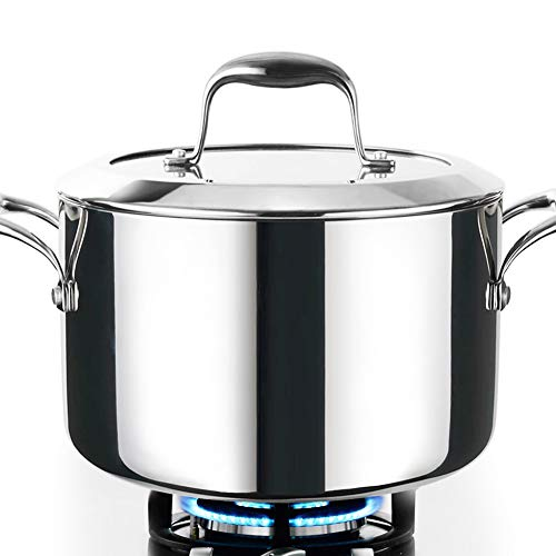HOMI CHEF Mirror Polished NICKEL FREE Stainless Steel 6 QT(Quart) Stock Pot/Soup Pot with Glass Lid (No Toxic Non Stick Coating, Whole-Clad 3-Ply) - Cookware Pots And Pans Sets 10121 ()